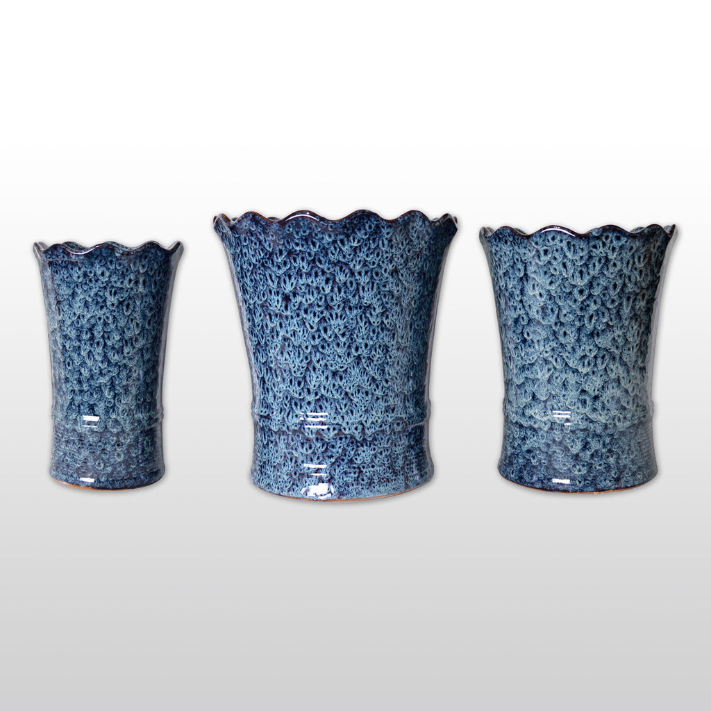 Ceramic Planters - A Trio Of Large Ceramic Flower Pot With White Patterns On Blue Sheen
