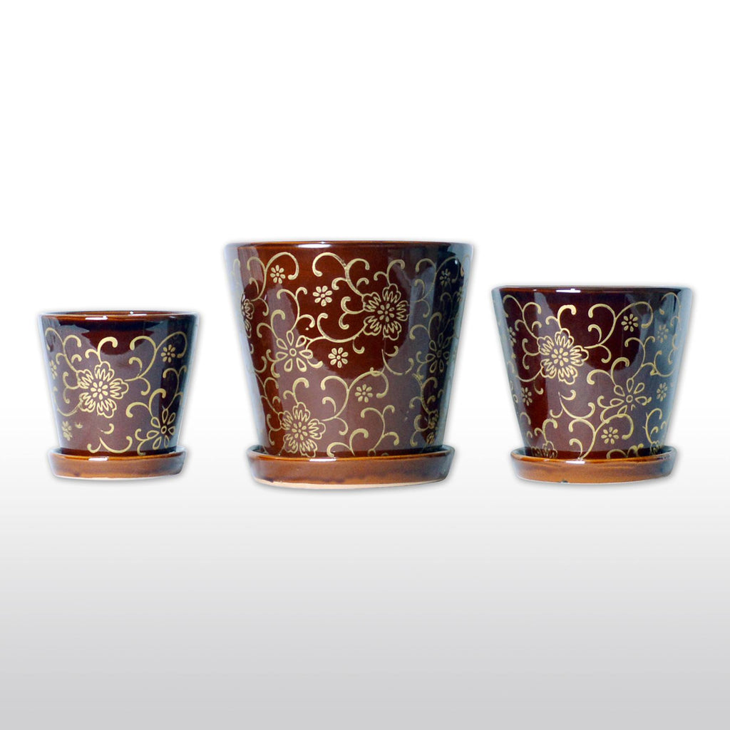 Ceramic Planters - Ceramic Flower Pots With Bottom Trays With Golden Designs In Burgundy Set Of 3