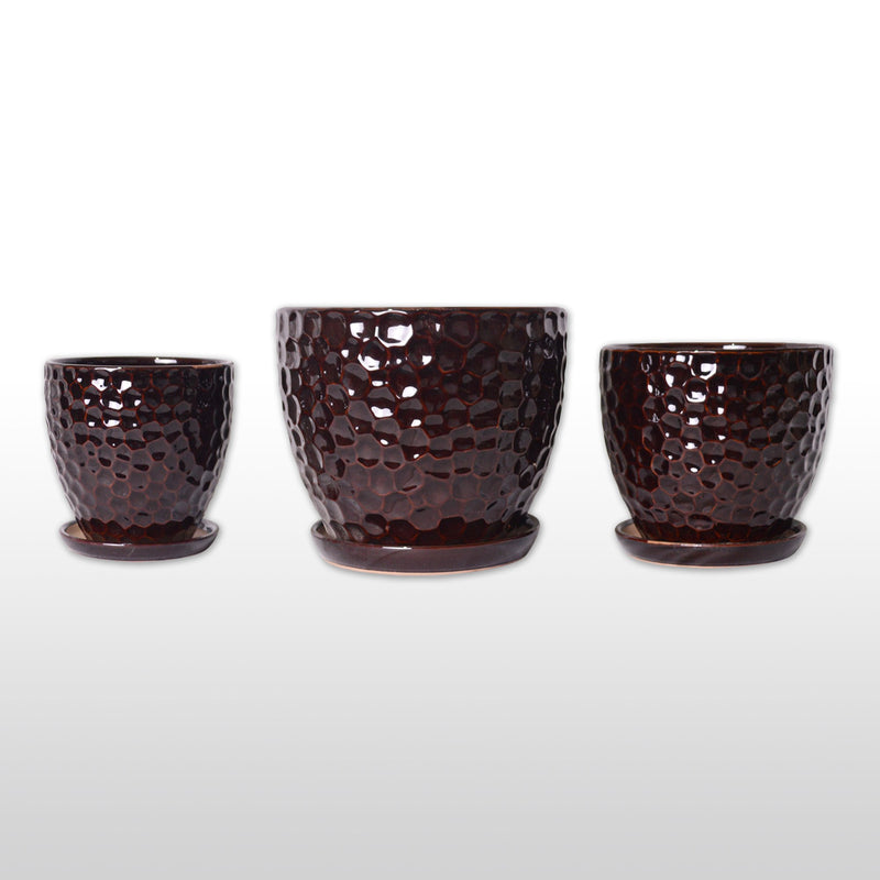 Ceramic Planters - Ceramic Planters In Burgundy With Bottom Trays Set Of 3