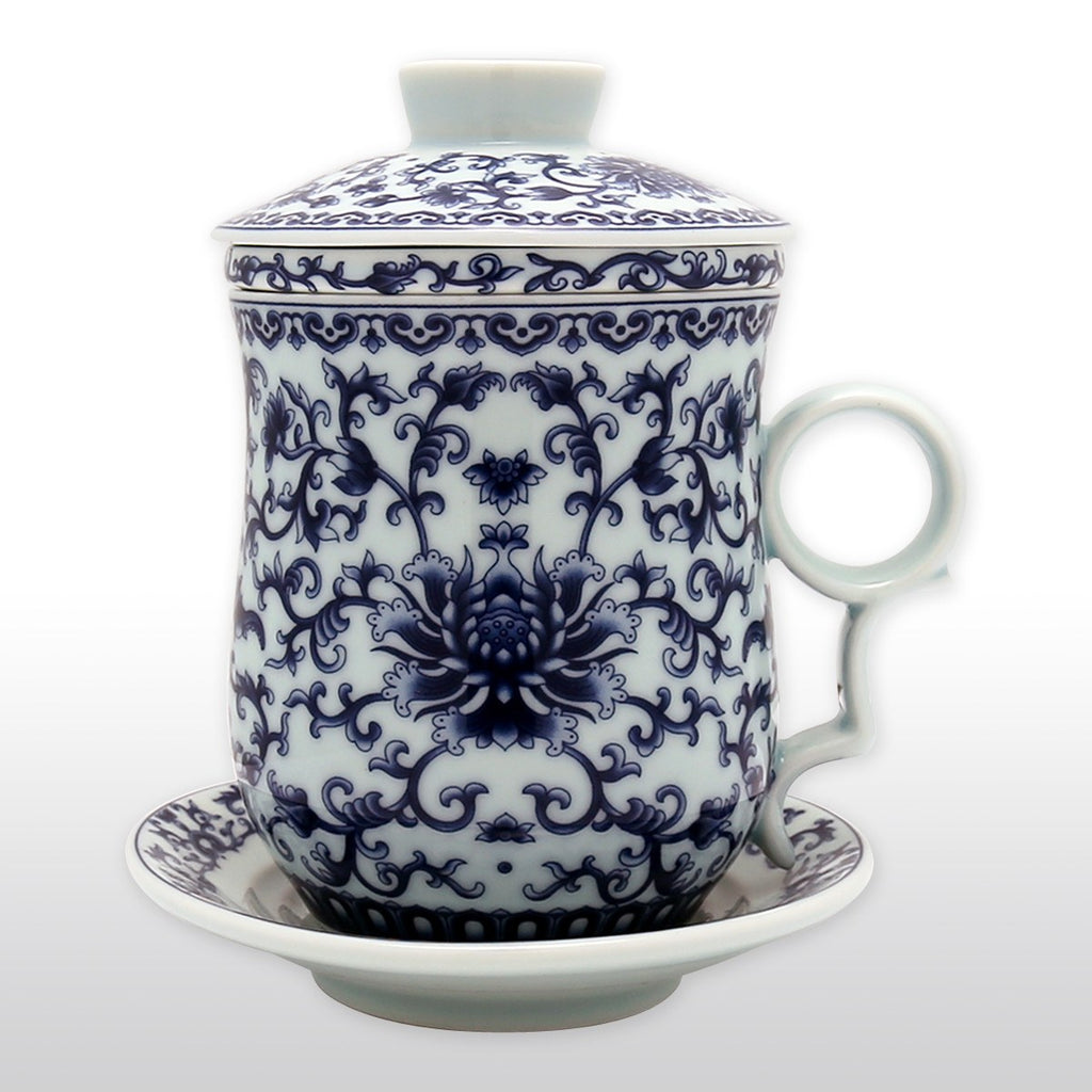 Coffee & Tea Wares - Chinese Blue And White High Fire Porcelain Tea Cup Floral Motif