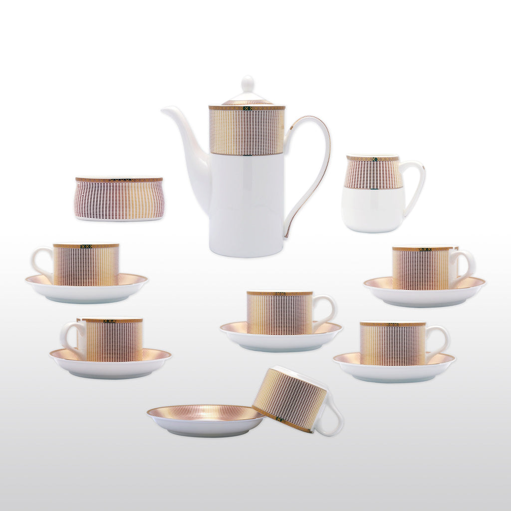 Coffee & Tea Wares - Fine Bone China 15 Piece Coffee Set Grid Patterns In Gradient Burgundy