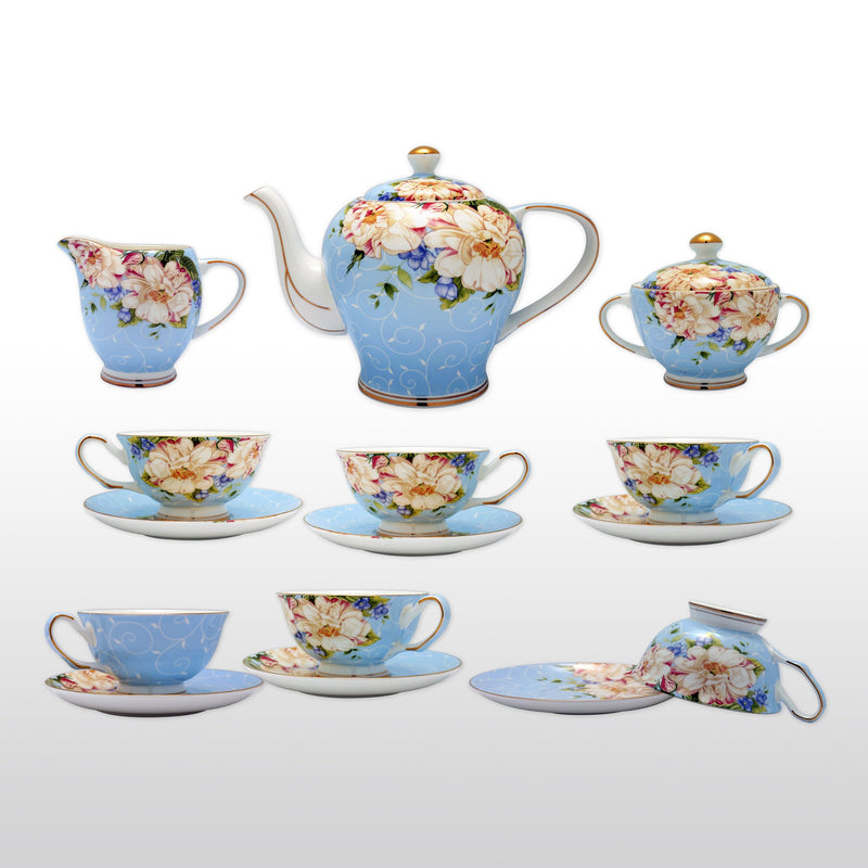 Coffee & Tea Wares - Fine Bone China 15 Piece Coffee Set High Capacity Floral Motif In Blue