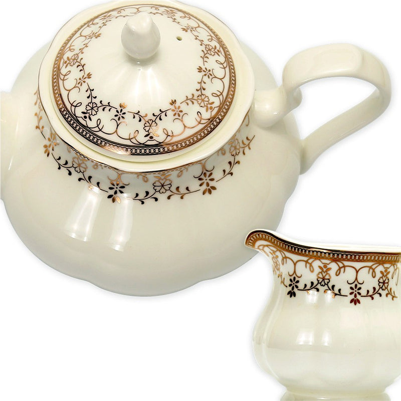 Coffee & Tea Wares - Fine Bone China 15 Piece Coffee Set With Gold Leaf Decorative Pattern