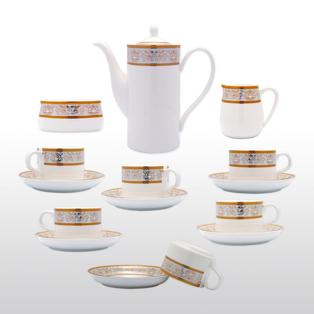 Coffee & Tea Wares - Fine Bone China 15 Piece Coffee Set With Gold Leaf In Decorative Stripes