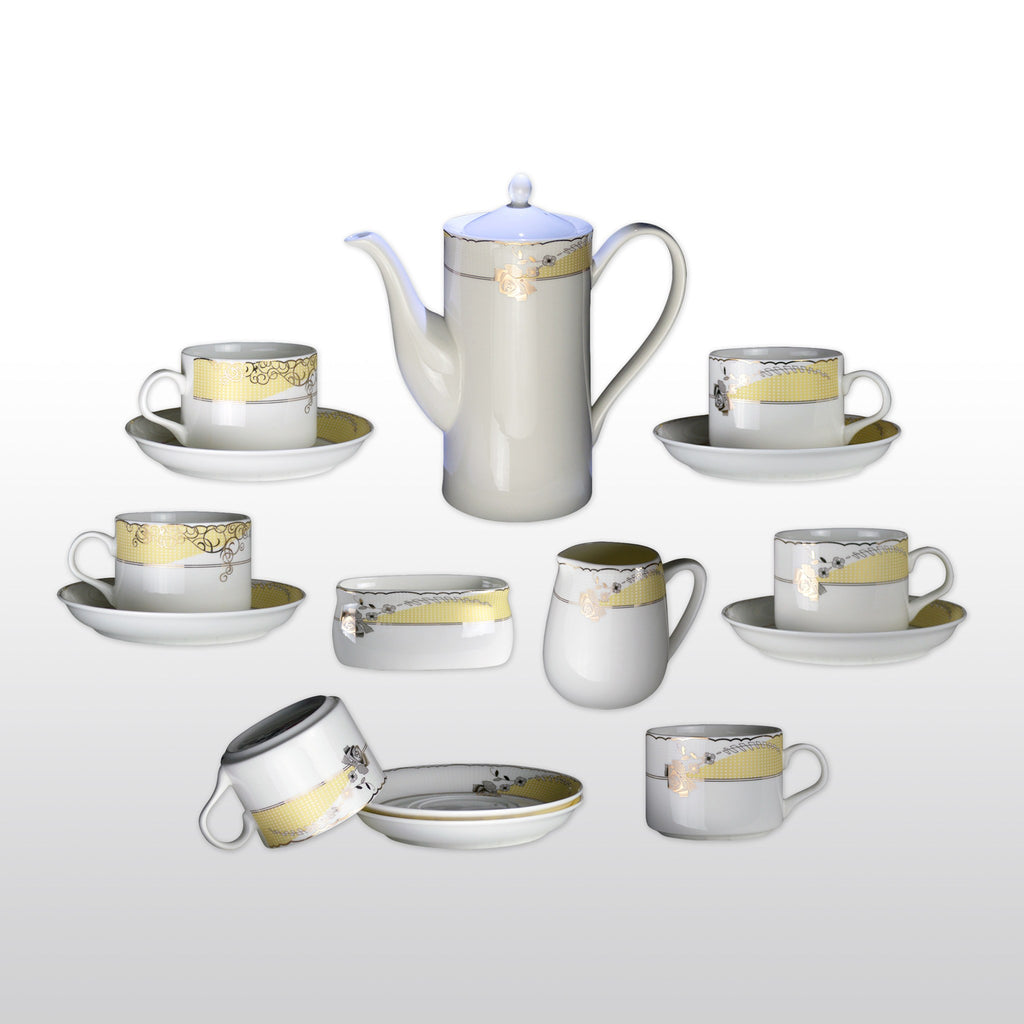 Coffee & Tea Wares - Fine Bone China Coffee Set Rimmed With Gold Leaf Rose Design Set Of 15