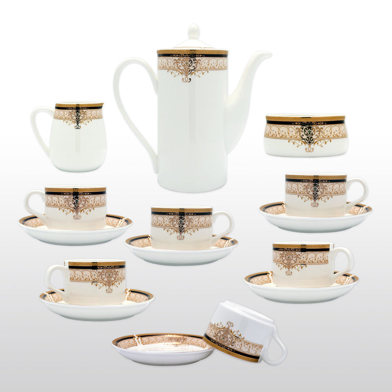 Coffee & Tea Wares - Fine Bone China Coffee Set With Gold Curve Decorations And Rim Set Of 15