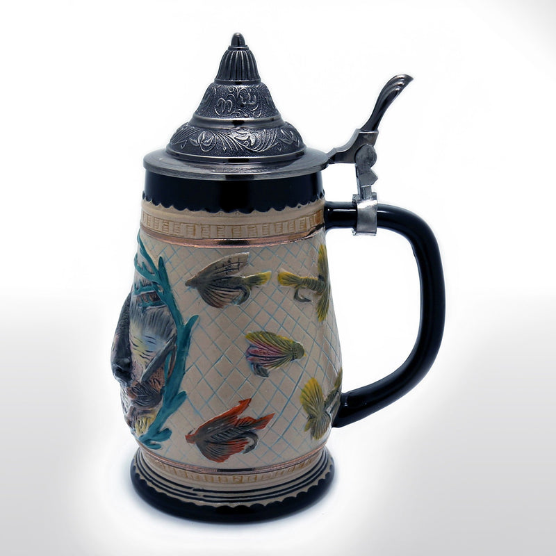 Featured Products, Beer Steins - 0.85 Liter Engraved Beer Stein With Metal Lid, Ocean Fish Motif
