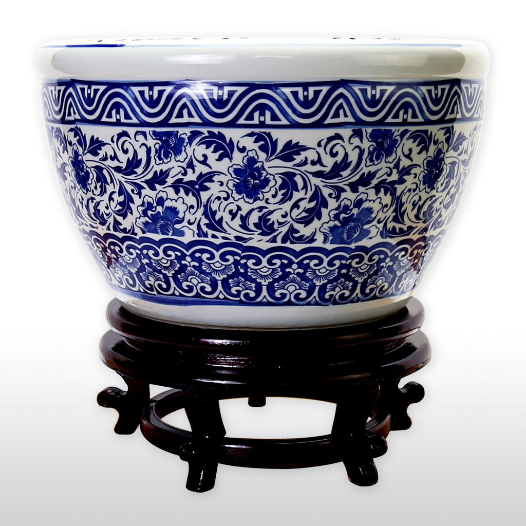 "Fish Bowls - 16"" Diameter Blue And White Porcelain Fish Bowl With Wooden Stand In Floral And Decorative Designs"