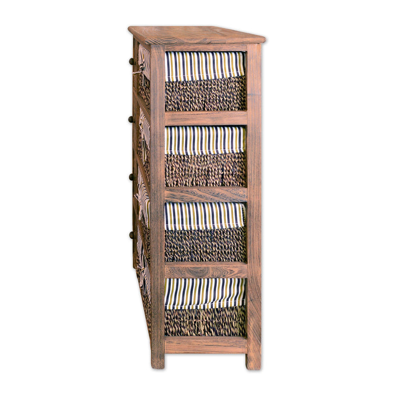 "Furniture - 29"" Wooden Floor Cabinet With 4 Drawers And 4 Rattan Baskets In Antique Walnut Finish"