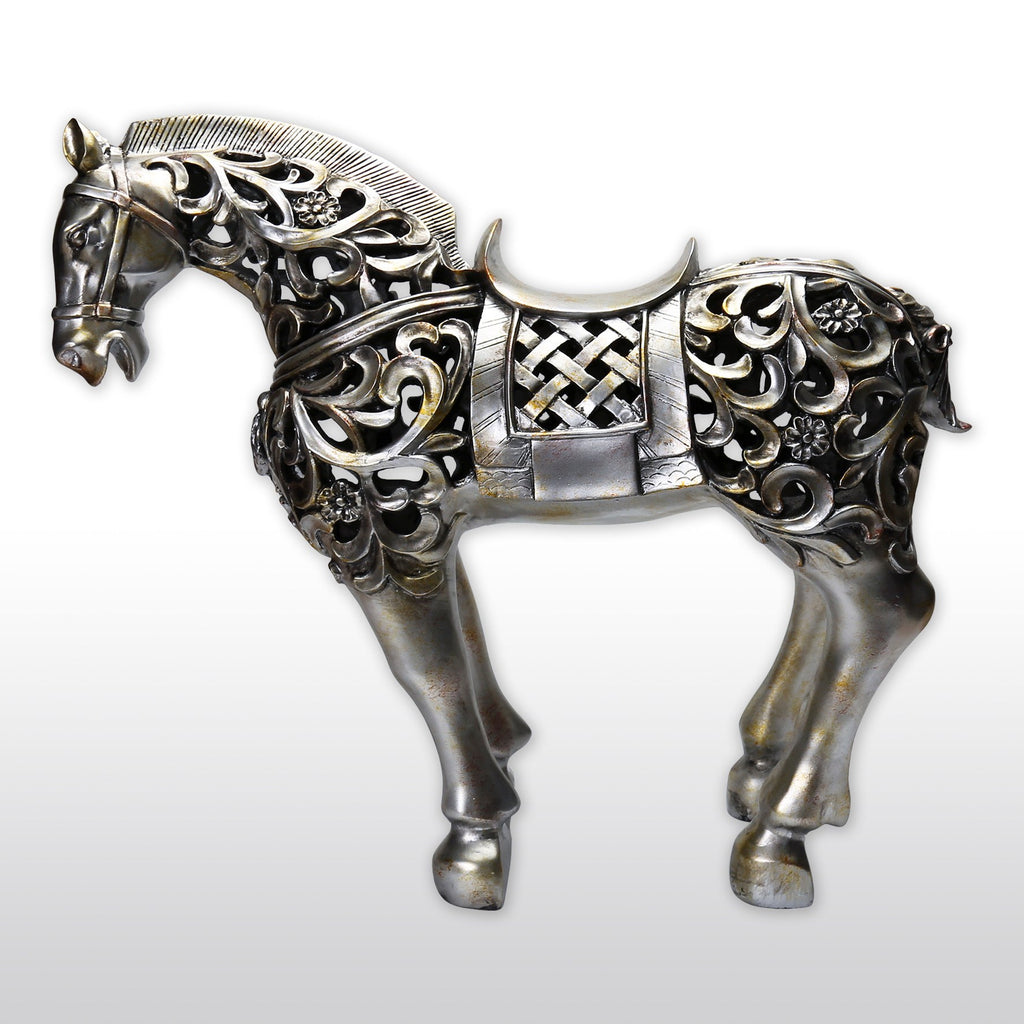 "Statues, Featured Products - 21"" Large Cast Resin Hollow War Horse Statue"