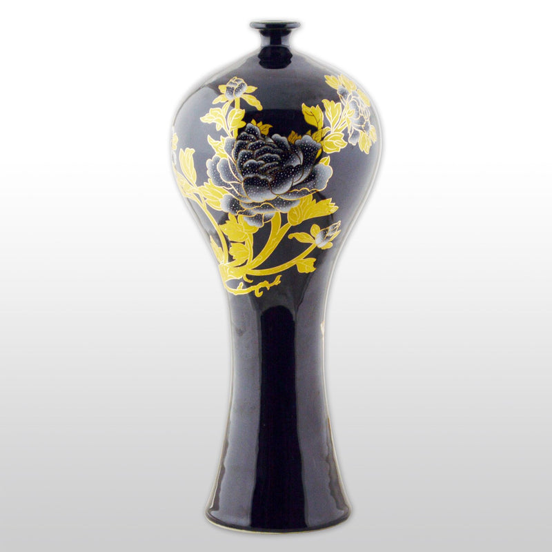 "Vases & Jars - 12"" Crystal Glaze Porcelain Vase With Flower And Leaf Design In Black"