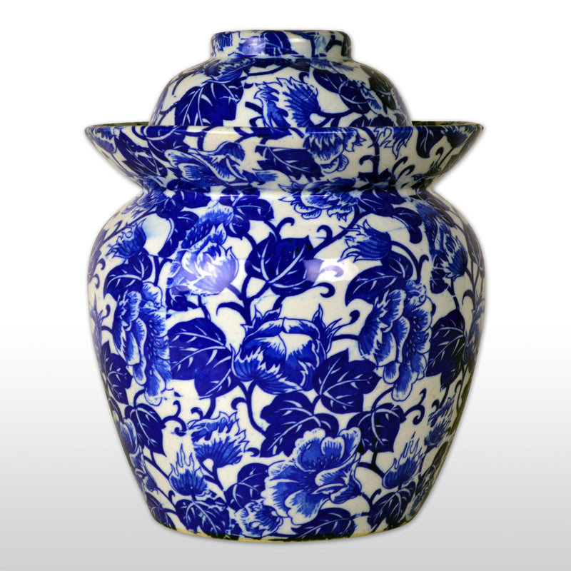"Vases & Jars, Featured Products - 10"" Blue And White Porcelain Pickling Jar With 2 Lids"