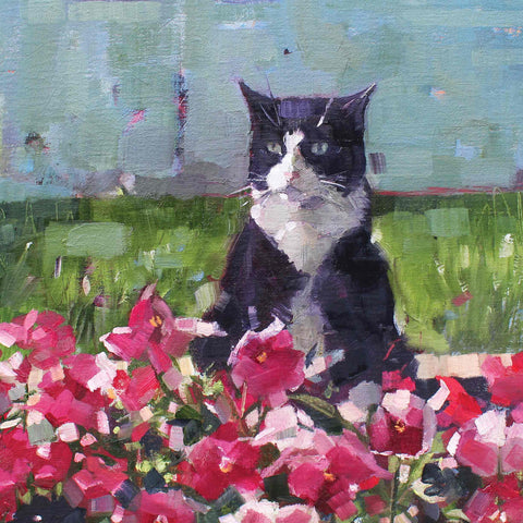 Art Greeting Cards by Anne-Marie Butlin, Ringo and Pansies, Oil on canvas, Cat in the pansies