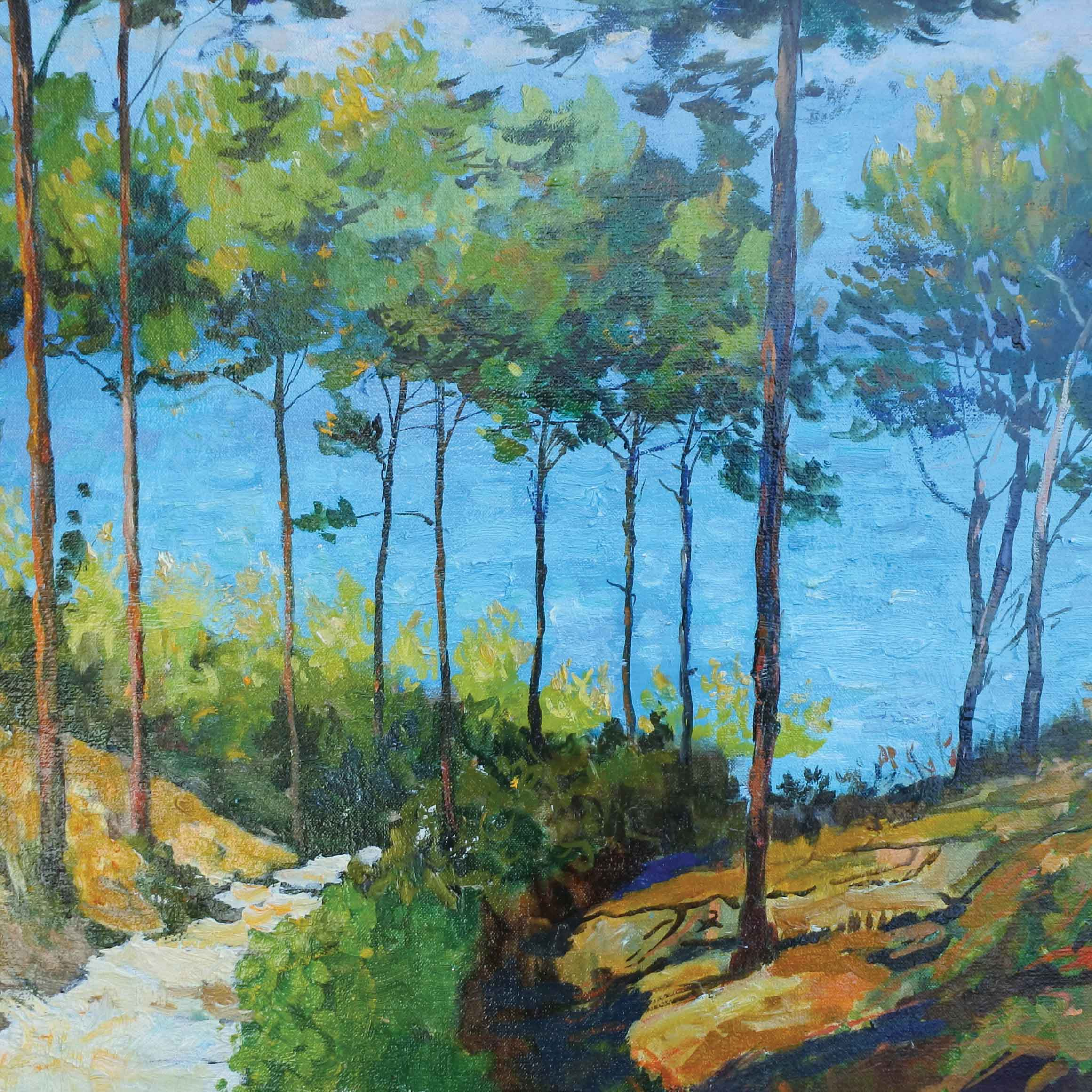 Steps to the Sea by Marcel Gatteaux, Fine Art Greeting Card, Oil, Trees and path down to the sea