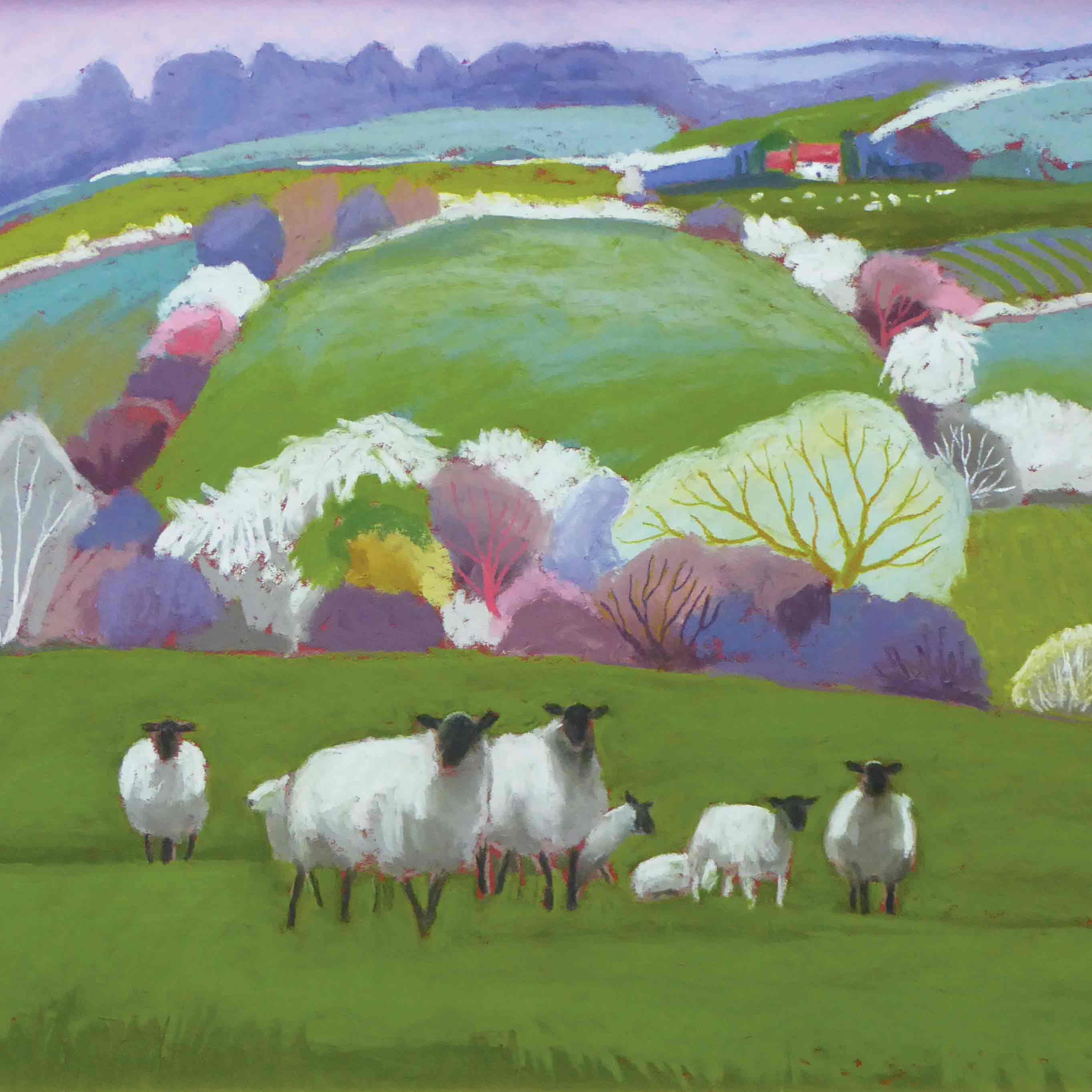 Art Greeting Card by Sue Campion, A Group of Shropshires, Pastel, Summer landscape with sheep