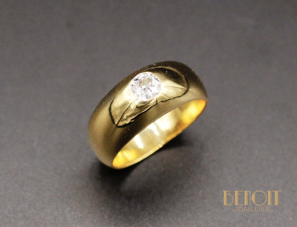 Bague Jonc Or Jaune Diamant