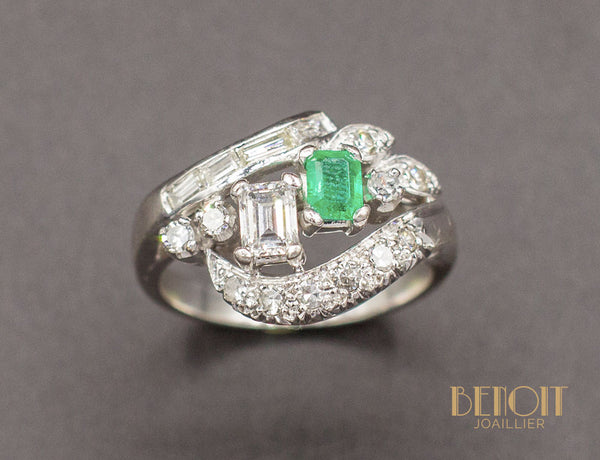 Bague Cocktail Emeraude Diamants