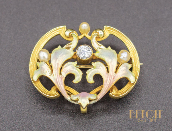Broche Art Nouveau Perles Diamants