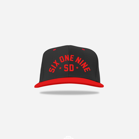 Six One Nine Snapback - Black / Red / Black