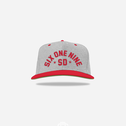 One Nine Snapback -Grey / Red / Grey