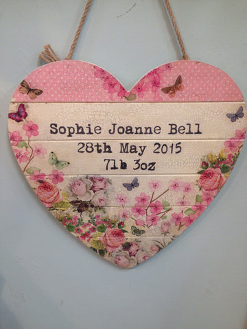 Large Personalised Hanging Heart £50 - Baby Girl - Doris and Jeannie