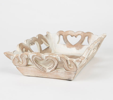 Decorative rustic tray with hearts small - Doris and Jeannie