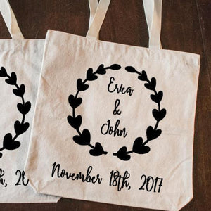 Personalized Wedding Favor Tote Bag with Bride and Groom Name and Wedding Date