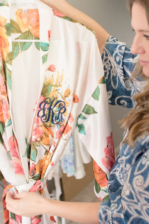 Personalized Floral Monogram Robe for Bridal Party