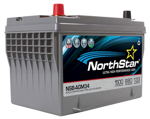 Northstar 12 Volt 880 CCA AGM Battery Part No NSB-AGM34 BCI Group 34