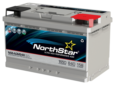 Northstar 12 Volt 840 CCA AGM Battery Part No NSB-AGM94R/L4/H7 BCI Group 94R
