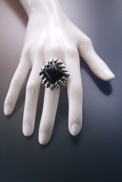 SG Liquid Metal PR- Ring1 – Antique Silver and Onyx Ring by Sergio Gutierrez
