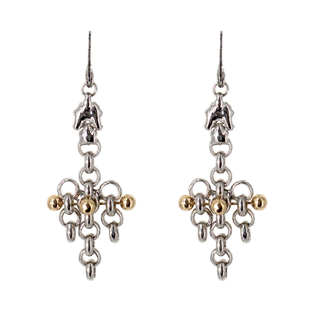 SG Liquid Metal Earrings by Sergio Gutierrez BXE1-N Chrome and Gold Finish Earrings