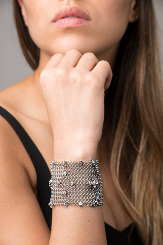 SG Liquid Metal Chainmail by Sergio Gutierrez CMB4 Z - AS (antique silver finish) Bracelet