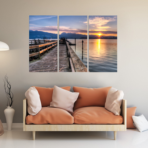 Dock At Sunrise Canvas-Wallart 3 Piece Vertical Rectangle-Medium - Not framed-Blue-Orange-Cool Tees & Things