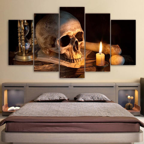Skull And Burning Candle Canvas Art- 5 Piece Canvas Home Decor-size 1-Not Framed-Cool Tees & Things