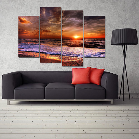 Stunning Cloudy Beach Sunset Canvas-Medium-Not Framed-Red-Cool Tees & Things