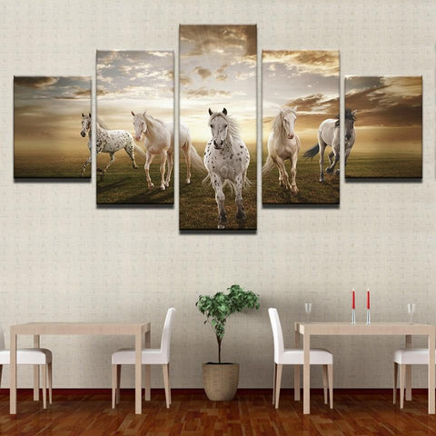 Stunning Running Horses At Sunset Canvas-10x15 10x20 10x25cm-No Frame-Tan-Cool Tees & Things