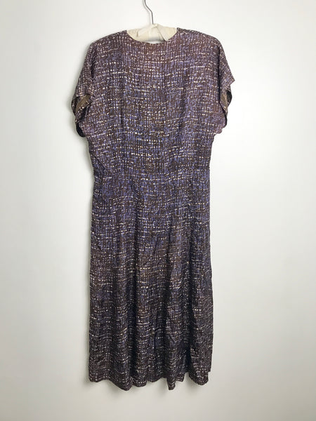 1950s Purple Modernist Printed Dress (L)