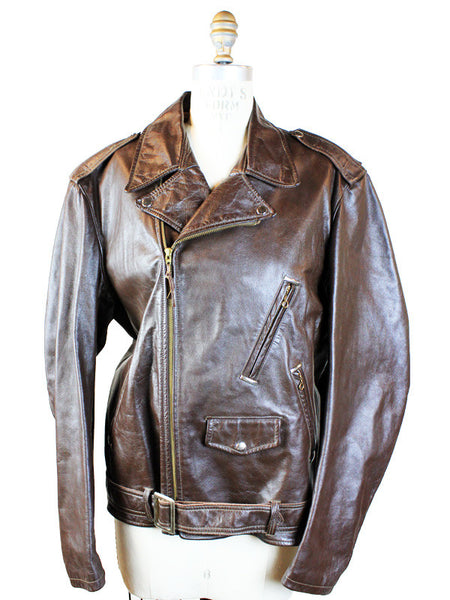 1960s Brown Leather Motorcycle Jacket