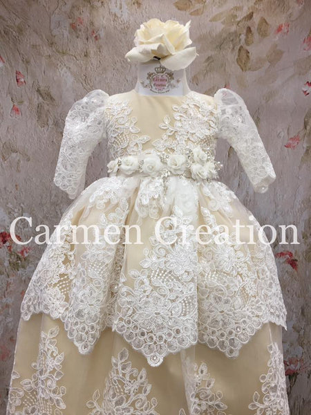 Venice Baptism Dress Champagne