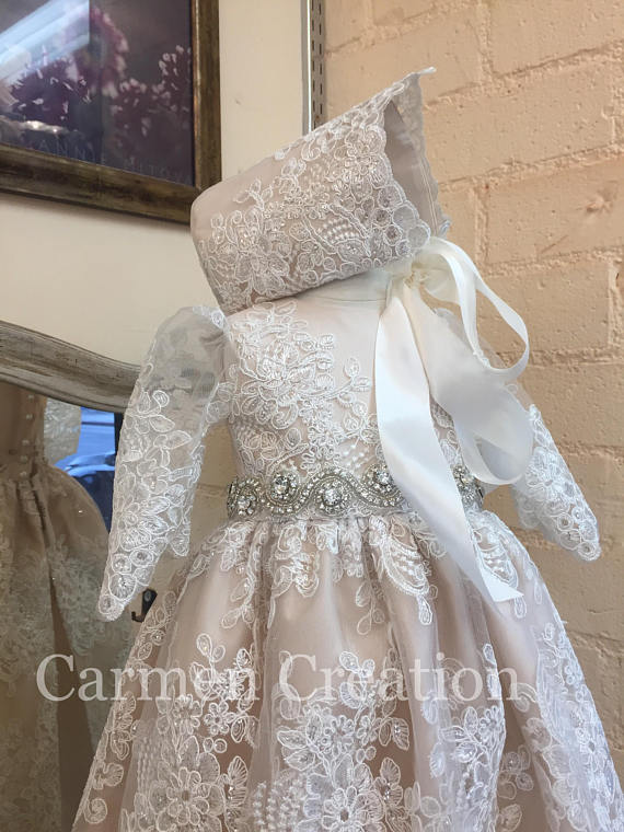 Venetian Baptism Gown Blush Pink