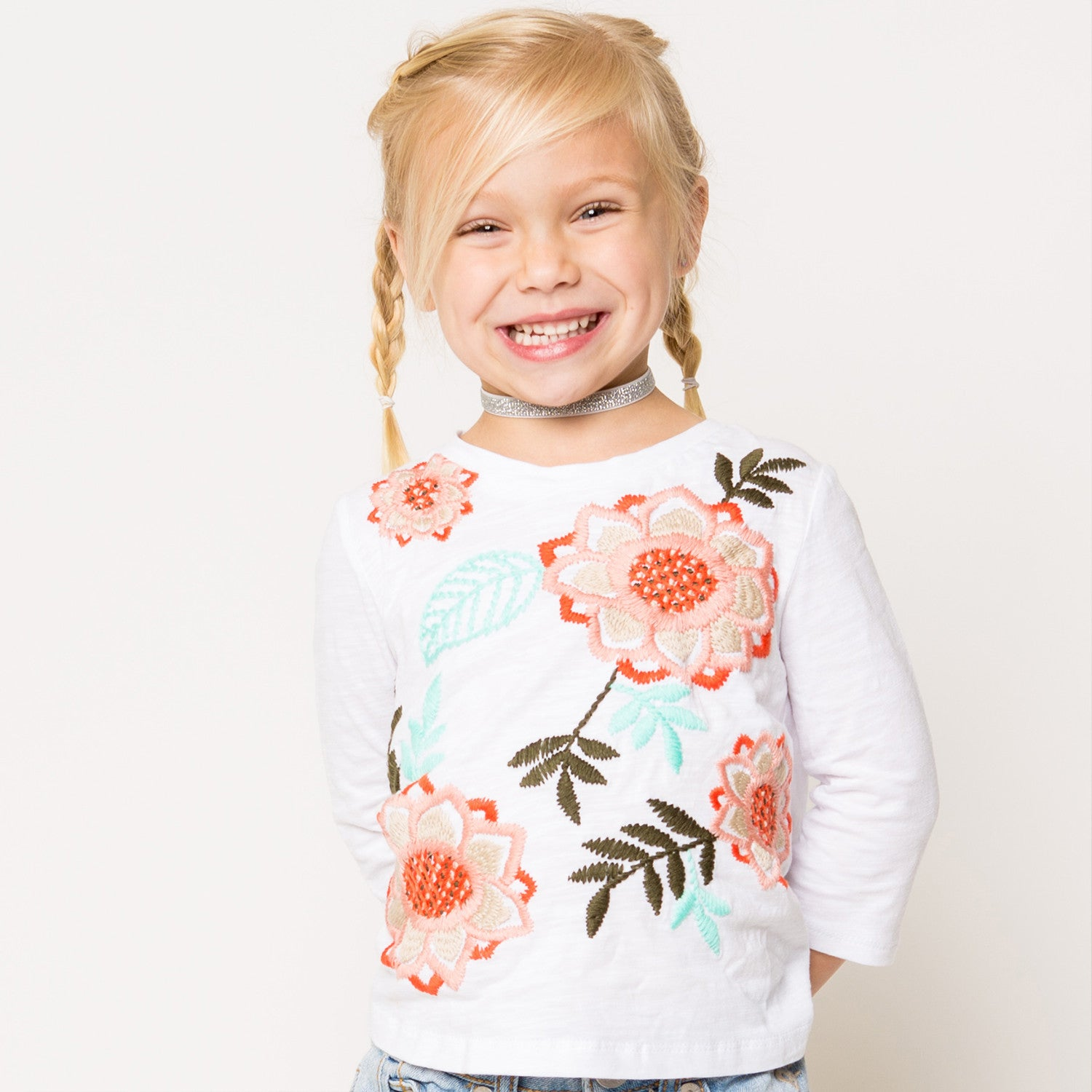 Embroidered Pleated Back Knit T-Shirt for Girls