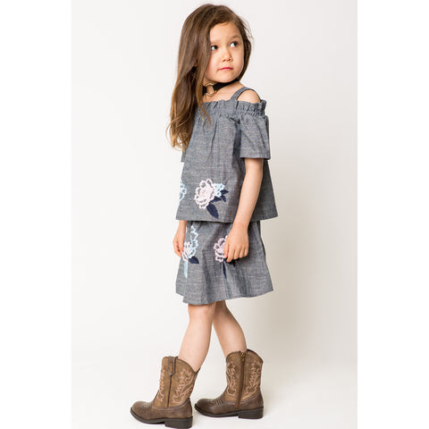 Floral Embroidery Chambray Skirt for Girls