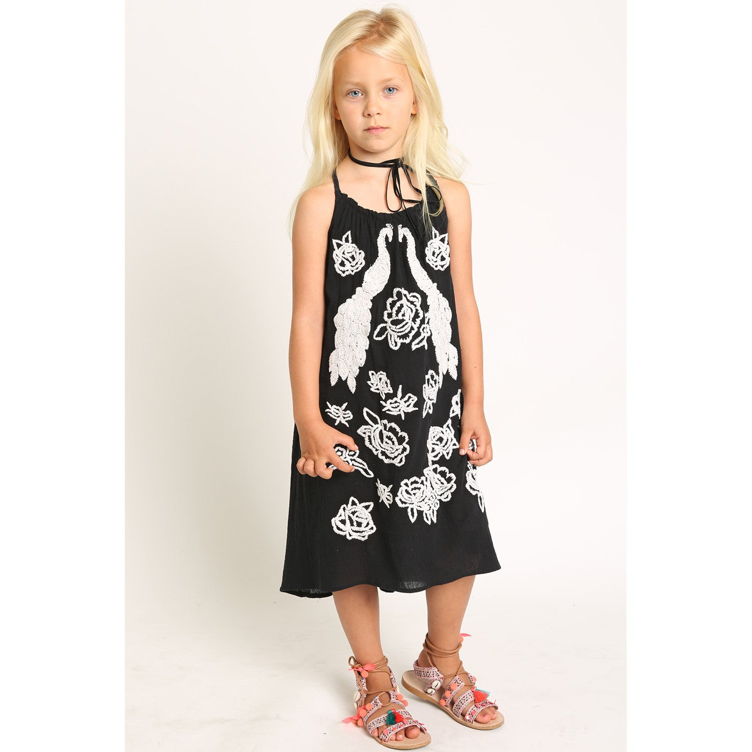 Peacock Embroidery Strappy Dress for Girls
