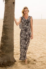 Draped Angel Wing Dress In Animal Print