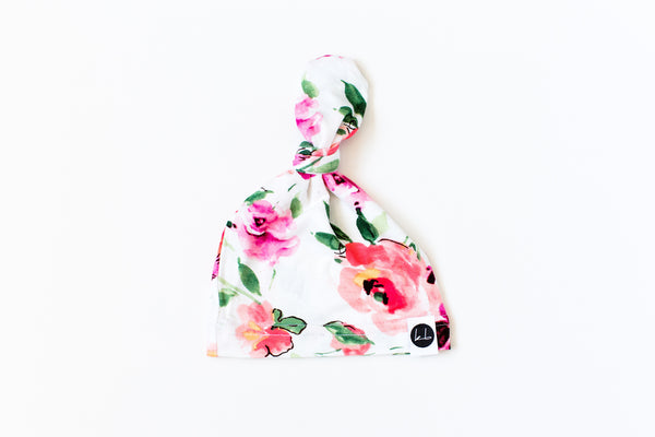 Top Knot Beanie - Big White Floral Top Knot Beanie