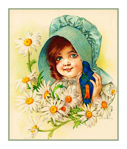 Child of Summer Flower Daisies by Maud Humphrey Bogart Counted Cross Stitch or Counted Needlepoint Pattern