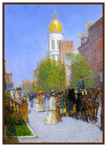 A Fine New York Spring Morning by American Impressionist Painter Childe Hassam Counted Cross Stitch or Counted Needlepoint Pattern
