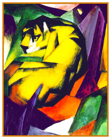 The Tiger by Expressionist Artis Franz Marc Counted Cross Stitch or Counted Needlepoint Pattern