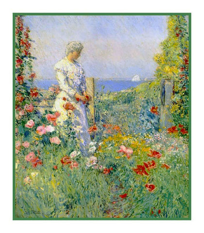 Celia Thaxter in the Garden Isle of Shoals by American Impressionist Painter Childe Hassam Counted Cross Stitch or Counted Needlepoint Pattern